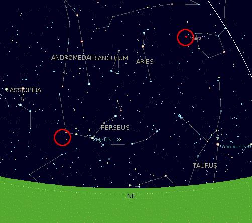 Perseids and Mars dilihat dari Jakarta, Indonesia pada 12 Agustus 2005, pukul 0200