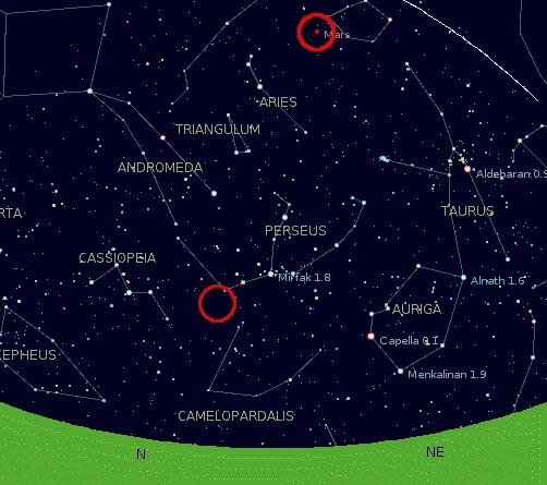 Perseids and Mars dilihat dari Jakarta, Indonesia pada 12 Agustus 2005, pukul 0400