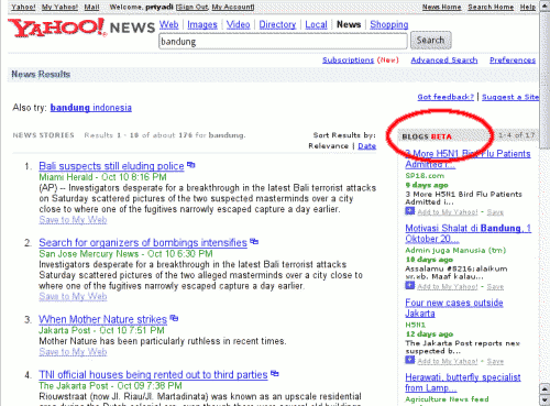 Yahoo! Blog Search